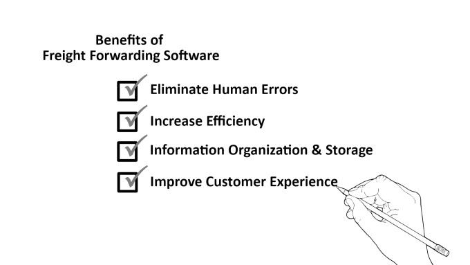 Benefits of using freight forwarding software: eliminate human errors, increase efficiency, information organization and storage, and improve customer experience
